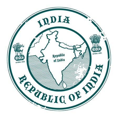 stempel reisepass: Grunge Stempel mit dem Namen und der Karte von Indien