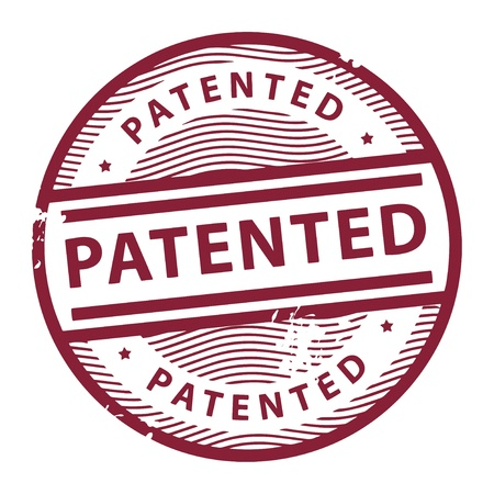 patent: Grunge rubber stamp with the text Patented written inside the stamp Illustration
