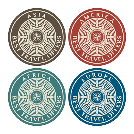 Labels with the text Best travel offers written inside Stock Vector - 16310715