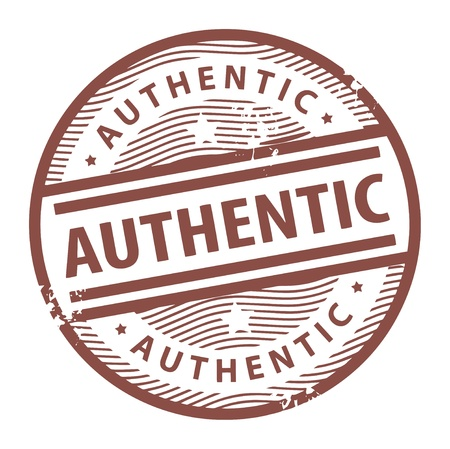 authenticity: Grunge rubber stamp with the text Authentic written inside the stamp