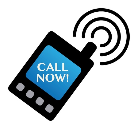 mobile advertising: Abstract label with the phone and the words Call Now