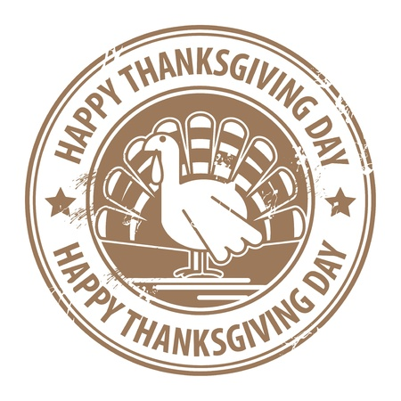 Abstract label with the turkey and the words Happy Thanksgiving Day Vector