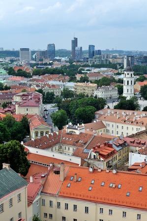 bird s eye view: Bird s eye view of Vilnius old town, Lithuania Stock Photo