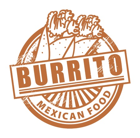 burrito: Grunge rubber stamp, with the text Burrito written inside