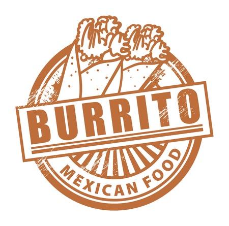 mexican food: Grunge sello de goma, con el Burrito texto escrito dentro Vectores