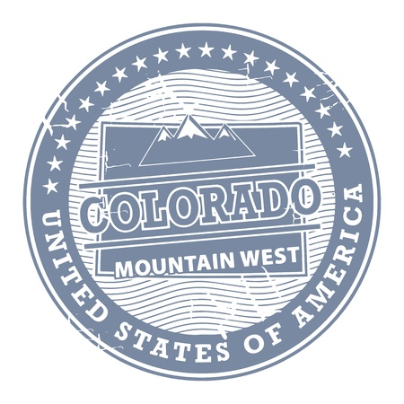 colorado mountains: Grunge rubber stamp with text Colorado, Mountain West Illustration