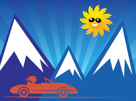 Red convertible car on mountain background Vector