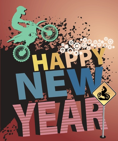 new motor vehicles: Motocross New Year background Illustration