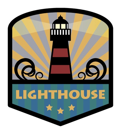 whale: Label with lighthouse Illustration