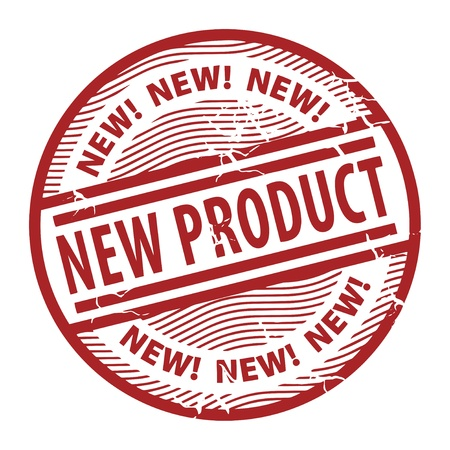 office product: Grunge rubber stamp with the text New Product written inside the stamp