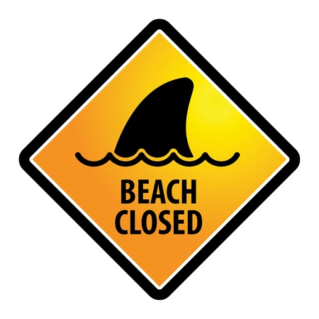 restrictions: Shark sighting sign, Beach Closed Illustration