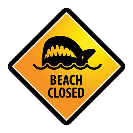 Shark sighting sign, Beach Closed Vector