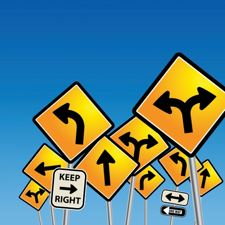 disorientation: Road signs chaos Illustration