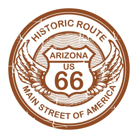 Abstract grunge rubber stamp with the text Historic Route 66, Arizona