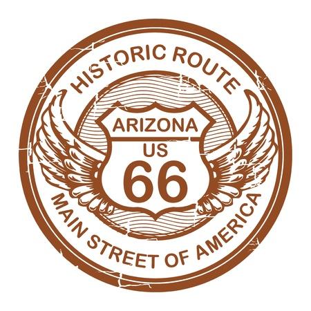 Abstracte grunge rubber stempel met de tekst Historic Route 66, Arizona