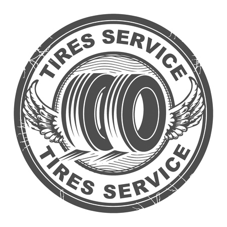 tire shop: Abstract grunge rubber stamp with wheel and the words tires service written inside Illustration