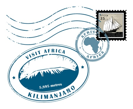 air shipping: Set of Africa post stamp symbols
