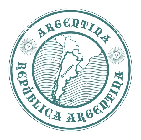 argentina: Stamp with the name and map of Argentina