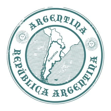stempel reisepass: Stempel mit dem Namen und der Karte von Argentinien Illustration