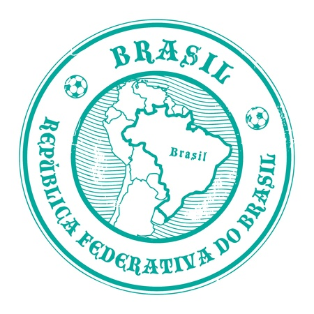 Stamp with the name and map of Brazil Vector