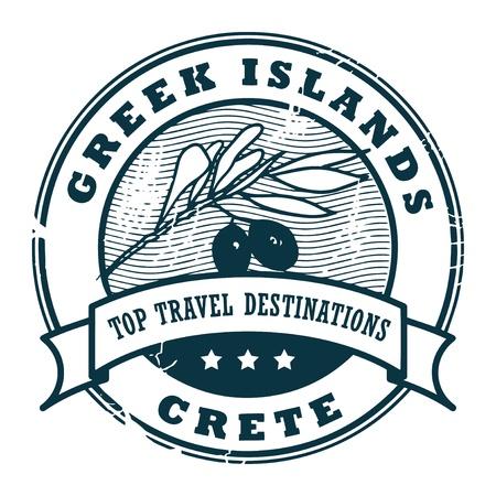 greek islands: Grunge rubber stamp with text Greek Islands, Crete