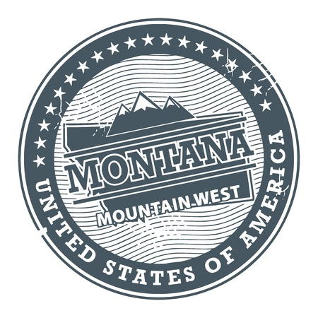 Grunge rubber stamp with text Montana, Mountain West Vector