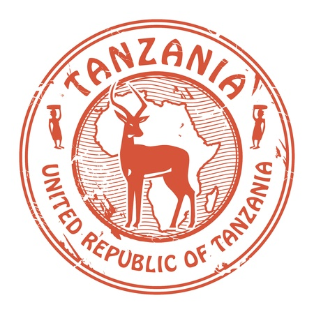 tanzania: Grunge rubber stamp with text Tanzania inside Illustration
