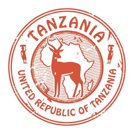 Grunge Stempel mit dem Text Tanzania Inneren