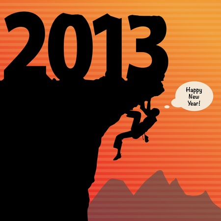 new year rock climbing Vector