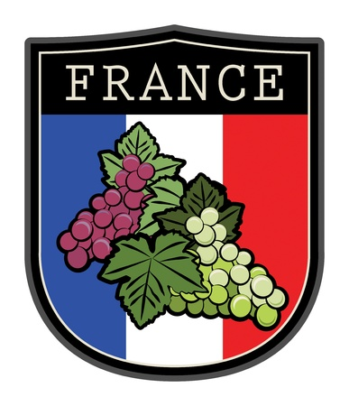 flag french icon: france label flag with grapes Illustration