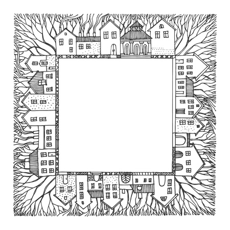 city alley: Cartoon hand drawing houses frame Illustration