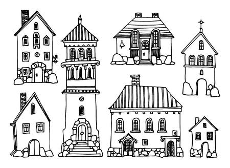 avenue: Cartoon hand drawing houses Illustration