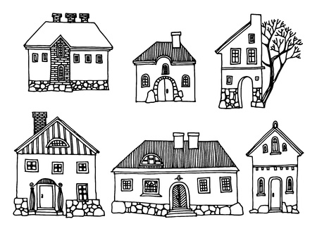 Cartoon hand drawing houses Vector