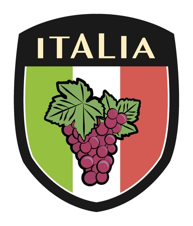 tricolors: italian label flag with grapes