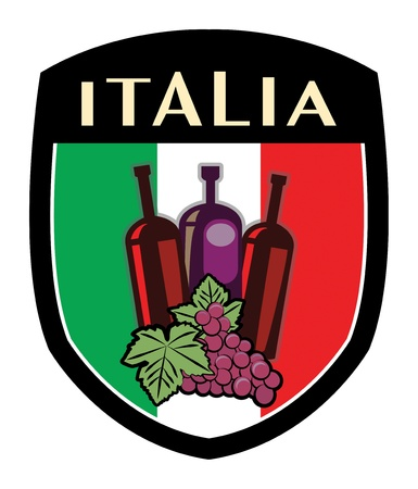 italian label flag with grapes and wine bottles Vector