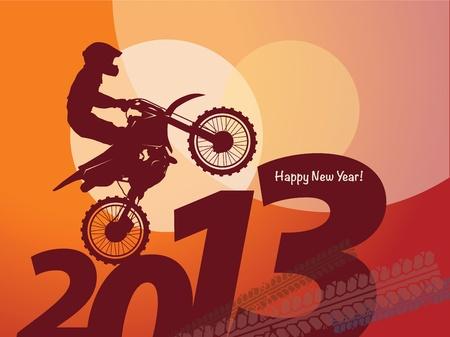 new year motocross race Stock Vector - 16656898