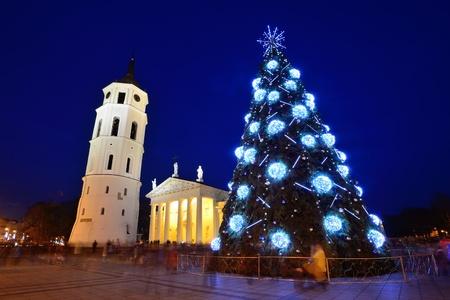 lithuanian: City Christmas Tree, Vilnius city, Lithuania Stock Photo