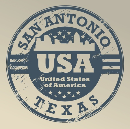 Grunge rubber stamp with name of Texas, San Antonio Stock Vector - 16657008
