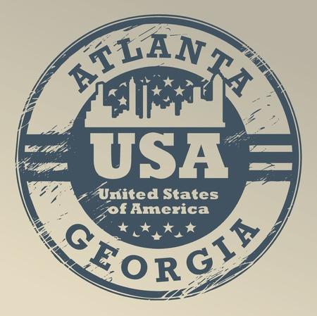georgia: Grunge rubber stamp with name of Georgia, Atlanta