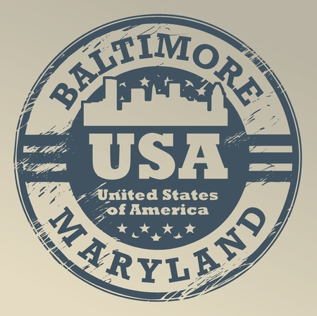 baltimore: Grunge rubber stamp with name of Maryland, Baltimore Illustration