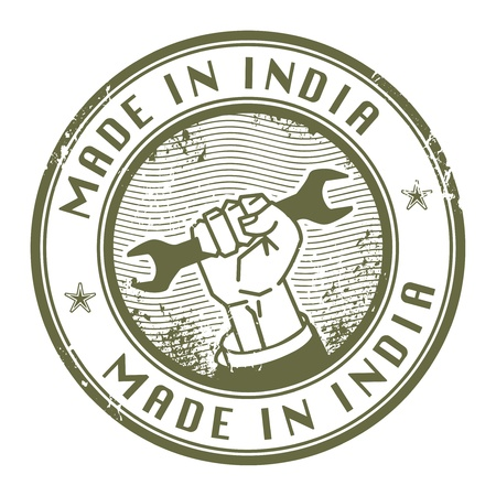 Grunge rubber stamp with words Made in India inside Vector