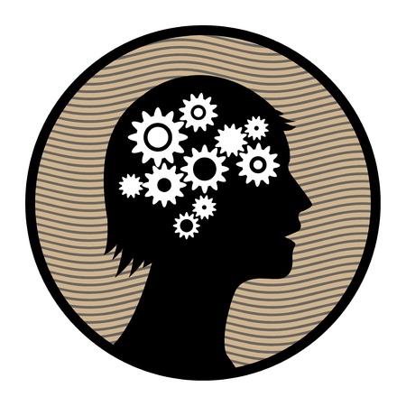 Cogs in human head Stock Vector - 16689345