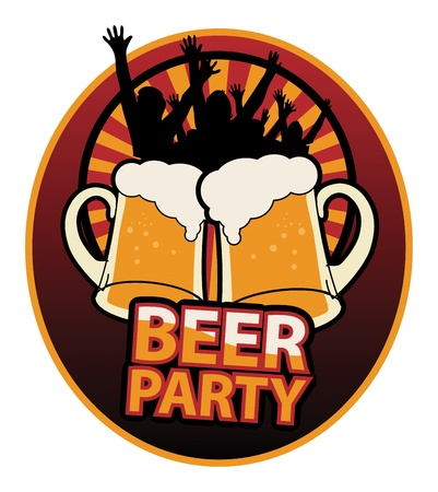 Label with the Beer Mugs and text Beer Party written insi Vector