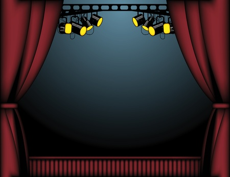 stage lights: Red theater curtain