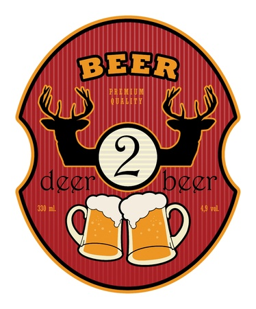 Label with beer mugs and the text 2 Deer Beer written inside Vector