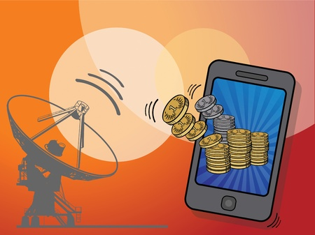 Gold coins flying in to mobile phone Vector