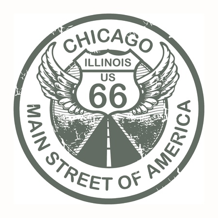 66: Abstract grunge rubber stamp with the text Route 66, Chicago Illustration