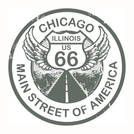 Résumé tampon en caoutchouc grunge avec le texte Route 66, Chicago