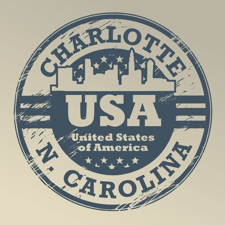 charlotte: Grunge rubber stamp with name of North Carolina, Charlotte