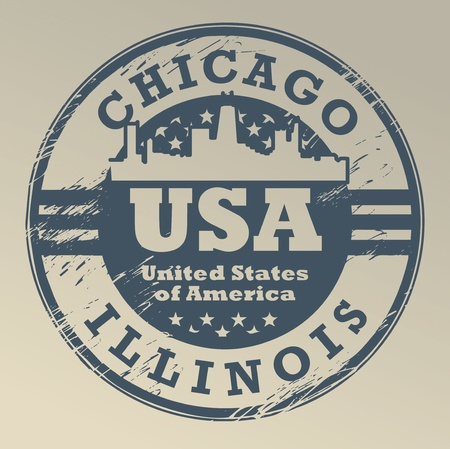 chicago skyline: Grunge rubber stamp with name of Illinois, Chicago Illustration